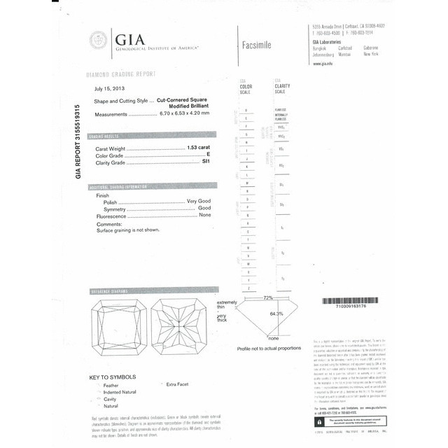 1.53 Carat Radiant Loose Diamond, E, SI1, Excellent, GIA Certified
