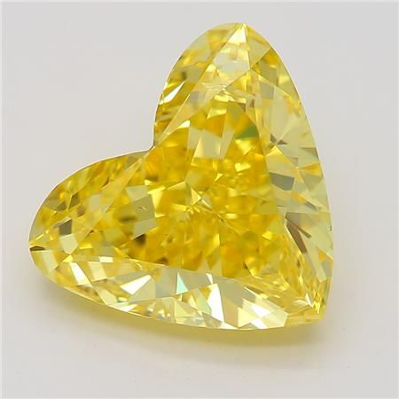 2.10 Carat Heart Loose Diamond, Fancy Vivid Yellow, SI2, Excellent, GIA Certified