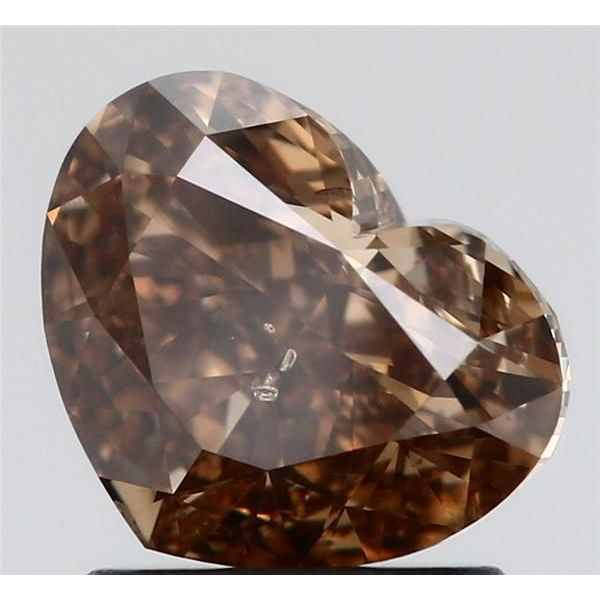1.52 Carat Heart Loose Diamond, Fancy Dark Yellowish Brown, SI2, Ideal, GIA Certified