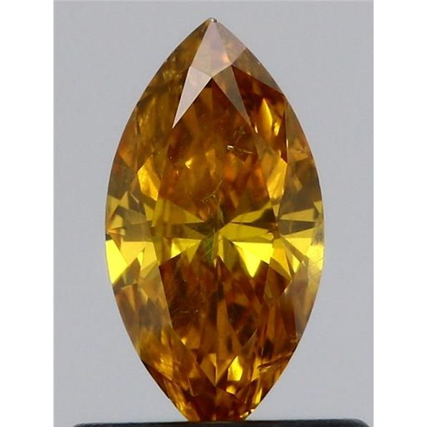 0.52 Carat Marquise Loose Diamond, Fancy Deep Yellow-Orange, I1, Ideal, GIA Certified