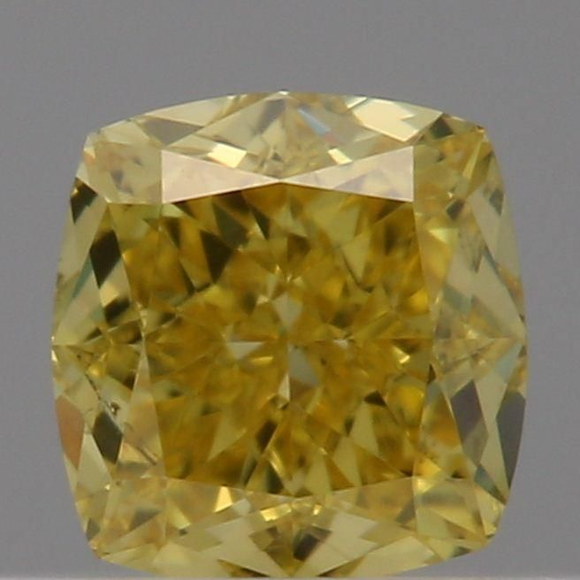 0.33 Carat Cushion Loose Diamond, Fancy Vivid Yellow, SI2, Excellent, GIA Certified