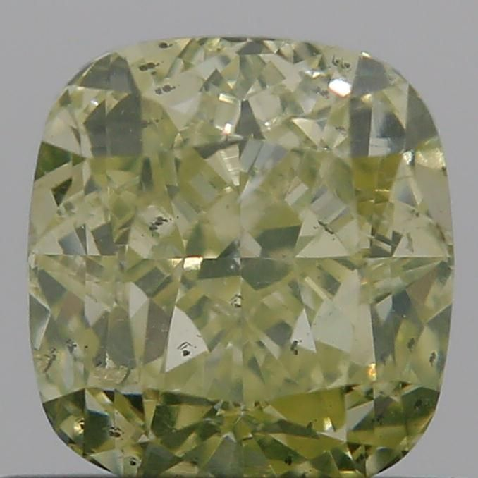0.74 Carat Cushion Loose Diamond, Fancy Yellow, SI2, Excellent, GIA Certified