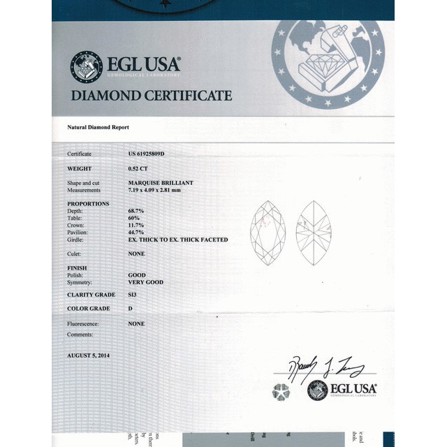 0.52 Carat Marquise Loose Diamond, D, SI3, Excellent, EGL Certified